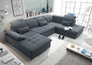 """Funktionale Couch """"Wayne"""" Sofa Schlafcouch Bettsofa Schlafsofa Sofabett Wohnlandschaft ausziehbar anthrazit Ottomane rechts U-Form"""