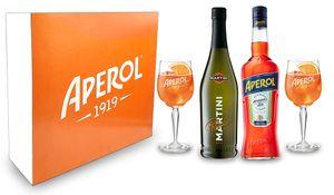 Aperol Spritz Geschenkset - Aperol Aperitivo Italiano 1L (11% Vol) + Prosecco 0,7L (10,5% Vol) + 2x Aperol 1919 KUNSTSTOFF / Acrylgläser Gläser / Glas aus Kunststoff +  Giftbox - [Enthält Sulfite]