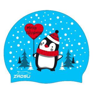 ZAOSU Badekappe Merry Christmas   Silikon Swim Cap Weihnachten limitierte Edition Blau