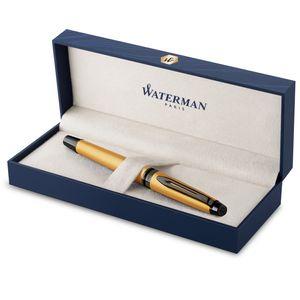 Waterman Expert Füllfederhalter | Goldfarbene Metallic-Lackierung mit Ruthenium-Zierteilen | Medium Edelstahlfeder mit PVD-Beschichtung | Blaue Tinte | In Geschenkbox