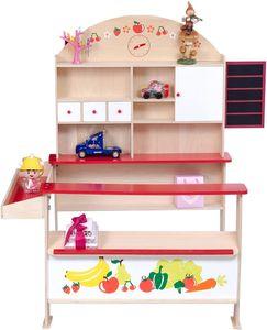 Goplus Kinderkaufladen Kaufmannsladen Einkaufsladen Verkaufsstand mit Uhr Theke Tafel