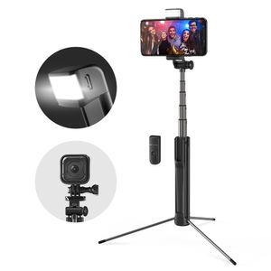 Blitzwolf BW-BS8 Ausziehbarer Bluetooth Stativ Selfie Stick mit LED Fülllicht - Schwarz