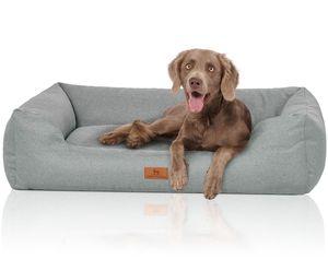 Knuffelwuff Hundebett Emma aus Velours mit feinem Handwebcharakter in Pastellfarben XL 105 x 75cm Petrol