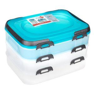 Domotti Dolce - Kuchenbehälter Kuchenhaube 40 x 30 x 24,3 cm MIX blau grau rosa