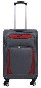 Betz Reisekoffer Stoff Koffer Handgepäck Teleskop Trolley Boardcase mit TSA Schloss und Leichtlaufrollen Farbe - grau/rot