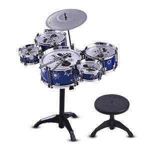 Kinder Kinder Jazz Drum Set Kit Musical Bildungsinstrument Spielzeug 5 Drums + 1 Becken mit Kleinen Hocker Drum Sticks für Jungen Mädchen
