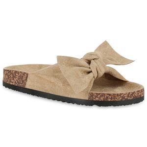 Mytrendshoe Damen Sandalen Pantoletten Schleife Schlappen 826574, Farbe: Beige, Größe: 38