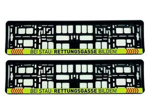 2x EU Kennzeichenhalter 520 x 110 mm | Bei Stau Rettungsgasse gelb, PKW