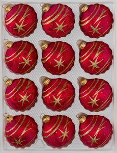 12 tlg. Glas-Weihnachtskugeln Set in Ice Rot Gold Komet