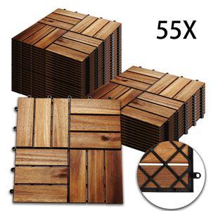 Hengda 5m2 Holzfliesen Mosaik Akazienholz Fliese 55 Stueck 30x30 cm Balkonfliesen Gartenfliesen Terrassenfliesen fuer Garten Terrasse Balkon