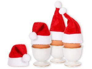4er Set Eierwärmer Mini Weihnachtsmützen für Flaschen & Stuhlecken