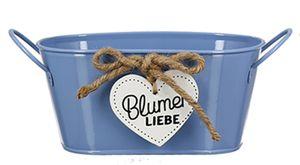 dekojohnson rustikaler vintage Metall-Übertopf mit Henkel und Spruch Blumen Liebe Blumentopf Ziertopf Blumengefäß oval blau 17x29x11cm