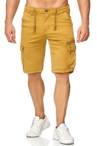 Herren Cargo Shorts Chino Bermuda Kurze Hose Stretch Sommer, Farben:Gelb, Größe Shorts:36W