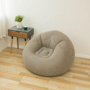 Aufblasbares Beflockungssofa Einzelsofastuhl, faltbares Freizeitsofa im Freien, Kaffeefarbsofa + Pump mit scharfem Ton