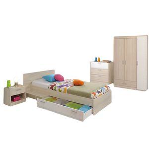 Kinderzimmer Charly 4-teilig Akazie beige / weiß Kinderbett 90*200 cm + Bettkasten + Ablagetisch + Nachtkommode + Kommode + Kleiderschrank Jugendzimmer