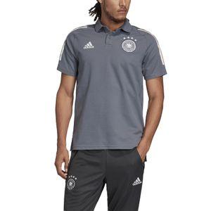adidas Herren Fussball Training Freizeit DFB Baumwoll Polo Shirt grey, Größe:M