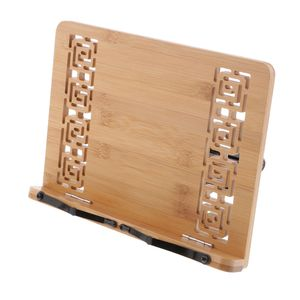 Bambus hohles Design Klappbar Buchständer Buchhalter Kochbuchhalter Notenhalter Lesehalter