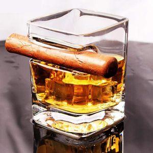2PCS Zigarrenglas Whiskeyglas – doppeltes altmodisches Glas mit integrierter Zigarrenablage – Zigarrenhalter