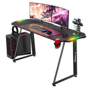 GEEMAX Computertisch 140x60x75cm E-Sport Gaming Tisch LED RGB Schreibtisch Monitorständer Getränkehalter höhenverstellbar 2021Neu