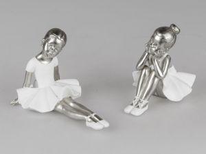 2er Set kleine Ballerina weiß silber 12-17 cm Ballett Figur Zierfigur Dekofigur