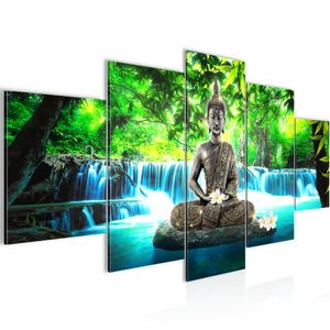 Buddha Wasserfall BILD :200x100 cm − FOTOGRAFIE AUF VLIES LEINWANDBILD XXL DEKORATION WANDBILDER MODERN KUNSTDRUCK MEHRTEILIG 503551b