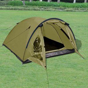 Huicheng Doppelwandzelt für 3 Personen Grün Campingzelt Kuppelzelt Familienzelt Campingzelt 280 × 210 × 120 cm