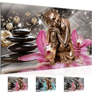 Buddha Orchidee BILD 70x40 cm − FOTOGRAFIE AUF VLIES LEINWANDBILD XXL DEKORATION WANDBILDER MODERN KUNSTDRUCK MEHRTEILIG 505314a