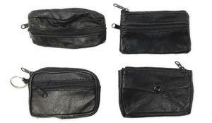 Schlüsseletui Schlüsselmäppchen Schlüsseltasche kleiner Geldbeutel Leder schwarz 4 Stück Set