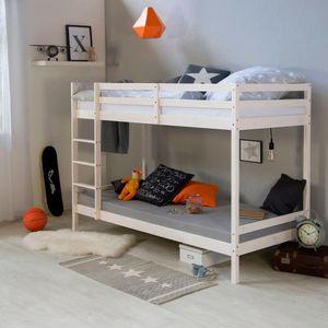 Homestyle4u 1431 Etagenbett für Kinder, Hochbett Mit Leiter, Massivholz Kiefer, Weiß, 90x200 cm