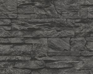 A.S. Création Tapete Wood`n Stone, Mustertapete in Natursteinoptik, grau, schwarz, 10,05 m x 0,53 m, 707123, 7071-23
