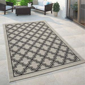 Orient Teppich Grau Anthrazit Outdoor Balkon Wohnzimmer Marokkanisches Muster, Grösse:80x150 cm