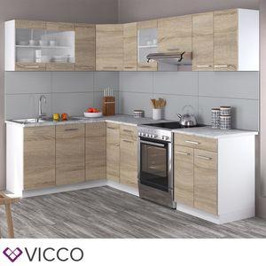 Vicco Küchenzeile L-Form 250Cm Küchenblock Winkel Eck Einbau Sonoma Eiche R-Line