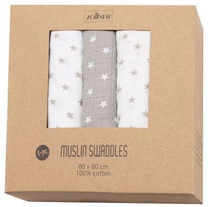 5er Set Spucktücher mit Geschenkbox, Sterne 3x grau 2x weiß, 80x80 cm