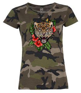Damen T-Shirt Camouflage Camo-Shirt Tiger Tropical Palmblätter Sommer Stick-Patch-Optik Tarnmuster Neverless® schwarz XL