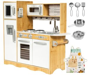 Große Kinderküche aus Holz mit LED-Beleuchtung und Küchenzubehör und Schürze ab 3 Jahre