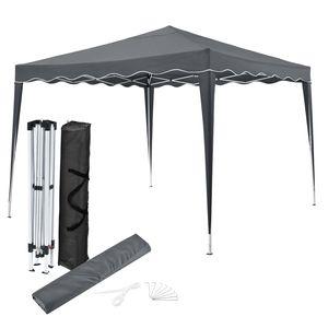 Juskys Faltpavillon Vivara 3x3 m – Pop-up Pavillon höhenverstellbar, UV50+ & wasserabweisend – Gartenzelt mit Tasche – Partyzelt für Garten grau