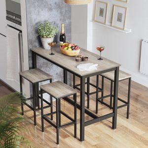 VASAGLE Bartisch-Set, Stehtisch mit 2 Barhockern, 120 x 60 x 90 cm, Küchentresen mit Barstühlen, Küchentisch und Küchenstühle, greige-schwarz LBT015B02