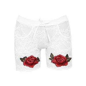 Weibliche Persönlichkeit Spitze Unterwäsche Sexy Stickerei Blumenhöschen Kurze Unterhose Größe:XXXL,Farbe:Weiß