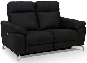 Ibbe Design Schwarz Stoff 2er Sitzer Relaxsofa Couch mit Elektrisch Verstellbar Relaxfunktion Heimkino Sofa Doha mit Fussteil, Federkern, 162x96x101 cm