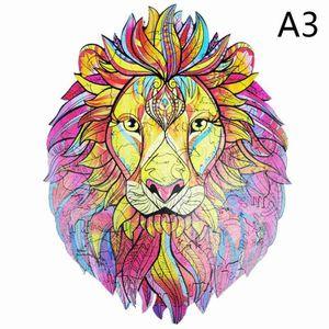 Lions Holzpuzzle (A3 Größen) (C) $ Ziegel zusammengesetzte Ansicht von buntem Holz-Puzzle Tier mystisch Löwen handgemachte Geschenkideen