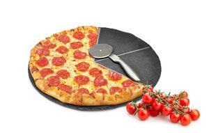 Pizzateller Set ø36cm aus Schiefer mit Pizzaschneider Pizzaschneidebrett Pizzabrett