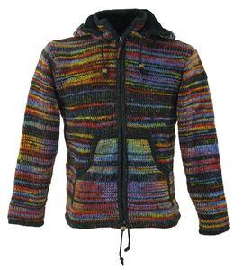Strickjacke Wolljacke Nepaljacke - Modell 13, Damen, Mehrfarbig, Wolle, Größe: S