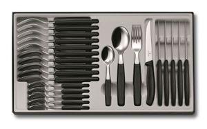 VICTORINOX Tafelbesteck Besteck 24-teilig Besteckkasten Steakmesser schwarz 6.7233.24