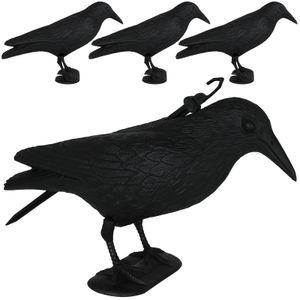 Vogelscheuche Rabe 4er Set Vogelschreck Taubenabwehr Vogelabwehr Taubenschreck Abwehr Vögel