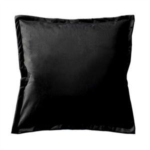 Kissenbezug 40x40 cm schwarz samt weich mit 2 cm Steg Kissenhülle Plüsch Kissen