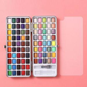 90 Farben Gouache Aquarell Set, Aquarell Mal Set, Wasserpinsel in Metallbox für Kinder und Erwachsene