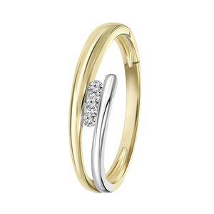 Zweifarbiger Ring 14 Karat mit Diamant -  52