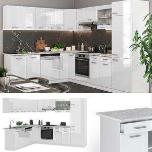 Vicco Küchenzeile R-Line Eckküche Winkel Küche Einbauküche Weiss Hochglanz