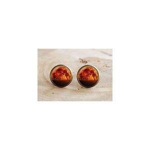 ALmi Vollmond-Bolzen-Mond-Ohrringe, Weltraum-orange gelber roter Mond-Schmuck-Ohrringe, für Frauenkunstgeschenke für sie