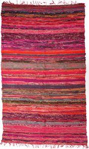 Leichter Flickenteppich, Flickendecke 100*160 cm - Rot-bunt, Baumwolle, Teppiche, Bodenmatten
